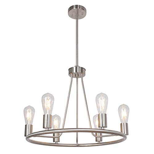 BONLICHT Contemporary 6-Light Round Chandelier Brushed Nickel Kitchen Island Farmhouse Living Room Dining Room Metal Light Fixtures Ceiling Mid Century Modern Pendant Lighting Brushed Nickel Six Light Chandelier