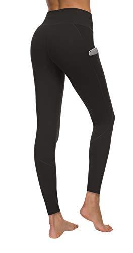 ockets Yoga Pants, High Waist Yoga Pants Workout 4-Way Stretch Leggings, Black, Large ()