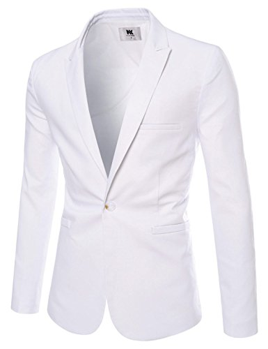 Mens Slim Fit Peaked Lapel 1 Button Cool Business Blazer WHITE US XL(Tag size XL) (White Blazer Suit For Men)