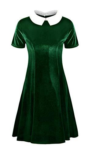 Annigo Ladies Work Dress Collared Halloween Costume Green Flare Short Velvet Dresses,Dark Green,L -