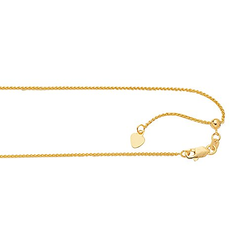 JewelStop 14k Yellow Gold 1 mm Extendable & Adjustable Spiga Wheat Chain, Lobster Claw Clasp - 22