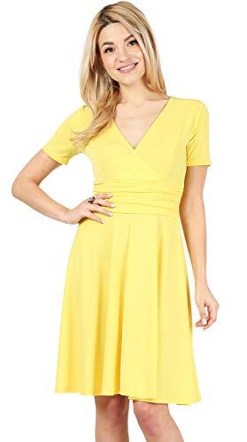 Yellow Dresses for Women Yellow Wrap Dress v Neck Dress Yellow Skater Dress Swing Dress Short Sleeve (Size Medium, Lemon Yellow) (Polyester Dresses For Women)