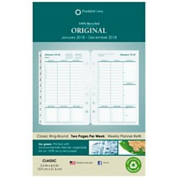 FranklinCovey(R) Original Weekly Planner Refill, 5 1/2in. x 8 1/2in., 100% Recycled, January to December 2018 (Week Original Refill)