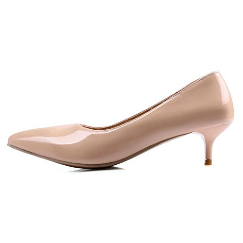 Pumps Kitten Patent Slip Heel Women 11 5 Size 1 apricot Plus Smilice Leather US on UOnqfax