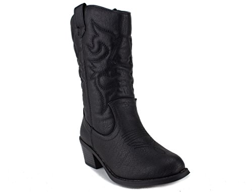 Ositos Kids Girls BDW-14 Tall Stitched Western Cowboy Boots, Black, 13