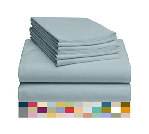 "LuxClub 6 PC Sheet Set Bamboo Sheets Deep Pockets 18"" Eco Friendly Wrinkle Free Sheets Hypoallergenic Anti-Bacteria Machine Washable Hotel Bedding Silky Soft - Light Teal Queen from LuxClub"
