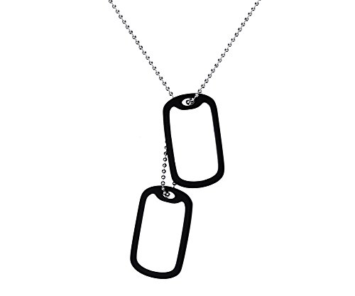 Free Engraving-Stainless Steel Black Rubber Silencer Double 2-pcs Dog Tag Pendant (Classic Army Silencer)