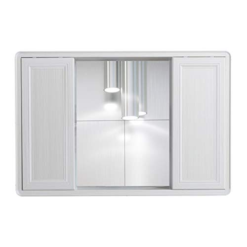 Peaceip US Double Sliding Door Bathroom Mirror Cabinet Wall-Mounted Space Aluminum White -