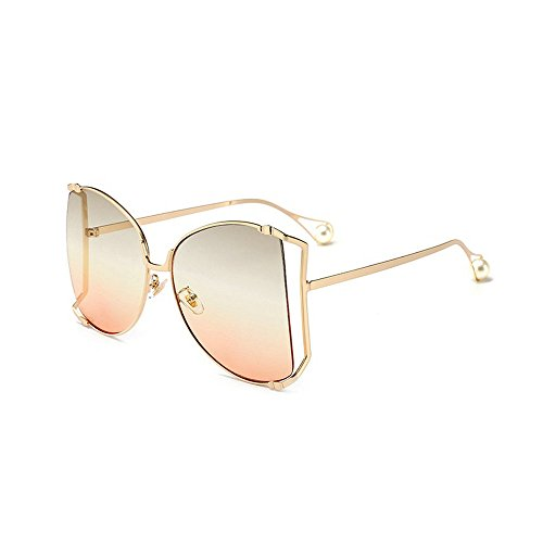 MINCL/Alloy Oversized Sunglasses Women/Men 2018 New Fashion Luxury Hollow Frame Shades With Pearl (orange)