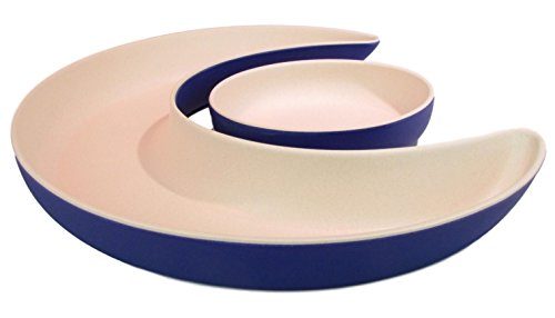 Bamboozle Eclipse Server Two-Piece Bamboo Serving Dish (Sapphire/Natural)