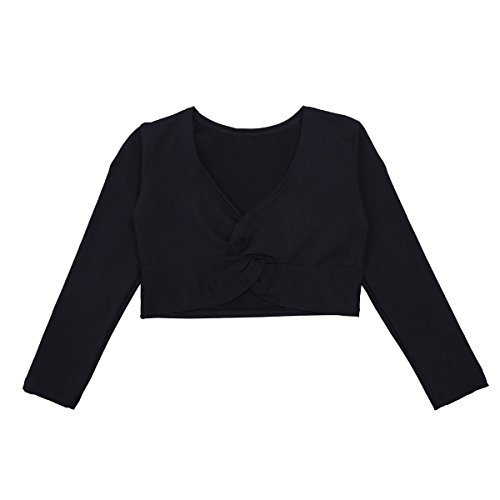 iEFiEL Girls Front Twist Knot Long Sleeve Ballerina Dance Cotton Wrap Top Black (Shrug Sweater Top)