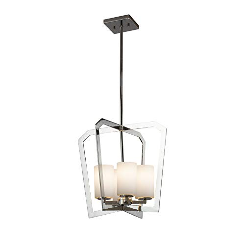 Justice Design Group Lighting FSN-8014-10-OPAL-CROM Fusion Aria 4-Light Chandelier-Polished Chrome Finish with Artisan Glass Opal-Cylinder with Flat Rim - Chandelier Aria Light 10