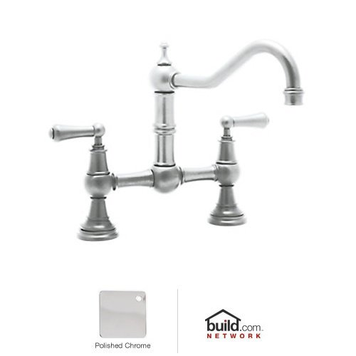 Rohl U.4751L-STN-2 Satin Nickel Perrin and Rowe Perrin and Rowe Low Lead Bridge Kitchen Faucet with Metal Lever Handles U.4751L-2