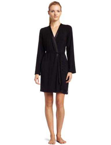 Calvin Klein Womens Essentials With Satin Short Robe, Black, Medium/Large