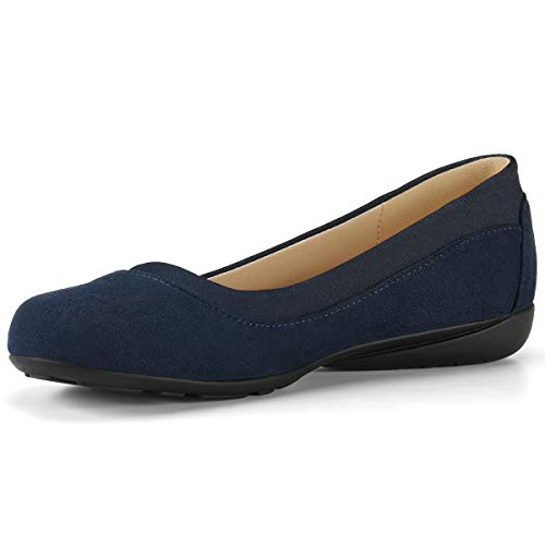 Classic Ballet Shoes for Women Soft Slip-On Loafer Cute Round Toe Flat Shoes Solid Colors Navy 7.5