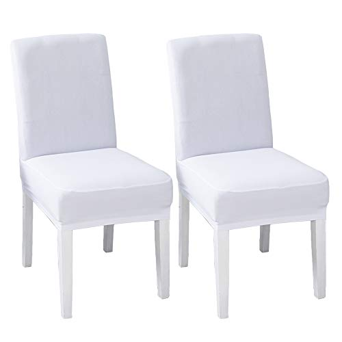 LINENLUX Velvet Spandex Fabric Stretch Dining Room Chair Slipcovers Home Decor (Pack of 2, B-White)