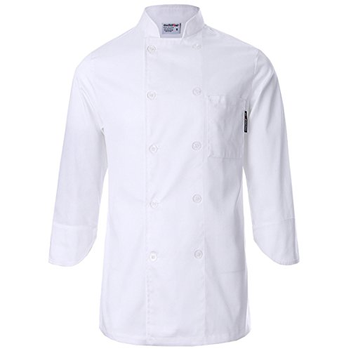 White chef uniforms unisex long and short sleeve coat catering jackets, US Size M Loose Fit(Tag XXL), White