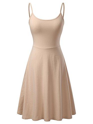 VETIOR Women's Sleeveless Adjustable Strappy Flared Midi Skater Dress Small Apricot (Womens Simple Slip)