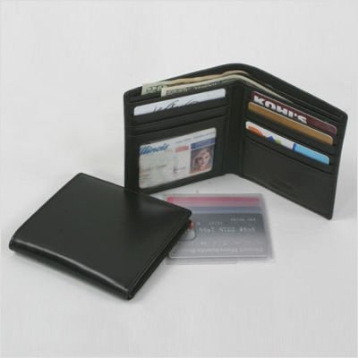 Cowhide Nappa Leather Hipster Wallet Color: Black
