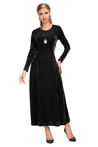 8b27ebfbf Le Vonfort Vintage Long Dress for Women, Beautiful Velvet Round Neck Long  Sleeve Swing Dresses