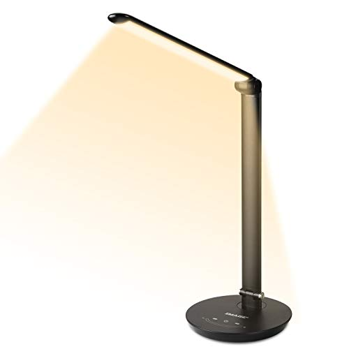 IMAGE LED Desk Lamp,Eye-Caring Touch Control Brightness & Color Temperature Stepless Adjustable,12W Table Office Lamp with USB Charging Port and Memory Function for Reading, Working or ()