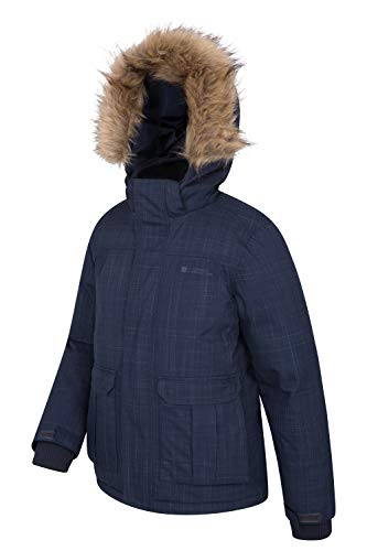 Down Warehouse for Fur Kids Breathable in Coat Antarctic Mountain Waterproof Ideal Hoodie Jacket Padded Trim Seams Taped Faux Navy Youth Camping Weather Cold fdqTgt