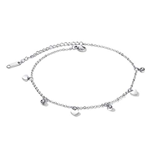 MFHUNX Stainless Steel Anklet Thin Chain Silver Rose Gold Heart Drop Anklets for Women Teen Girls Beach Bracelets Anklets Jewelry (Silver)