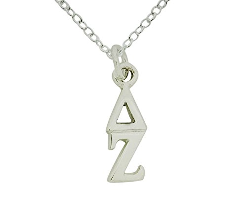 Sorority Things Girls Vertical Delta Zeta Greek Sorority Lavalier Drop Charm Pendant with Necklace Chain High Polish Finished Silver Plated 16 Inches