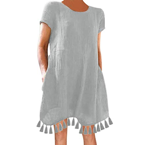 Save 15% Best Women's Summer Casual Solid Ruffled Pockets O-Neck Tassel Daily Pockets Mini Dresses for Party,Beach,Work Gray