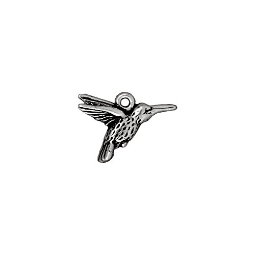Metal Charms Cast (TierraCast 94-2120-12 Hummingbird, 12mm, Antique Fine Silver Plated Pewter)
