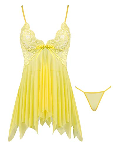 Joyaria Women's Sexy Sheer Lingerie Set Lace Babydoll Outfits Mesh Nighties (Yellow, Small) (G-string Sheer)