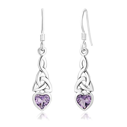 (925 Sterling Silver Celtic Knot Purple Amethyst Gemstone Heart Drop Dangle Hook Earrings)