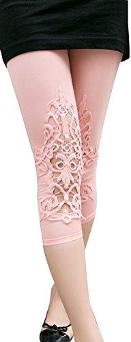 Toddlers Little Kids Solid Color Cotton Leggings Lace Knee Applique (Pure Cotton Applique)