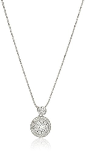 14k White Gold Circle Cluster Diamond Pendant Necklace(1/...