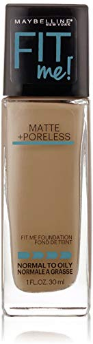 Maybelline New York Fit Me Matte Poreless Foundation, Warm Nude 128 1 oz Pack of 4