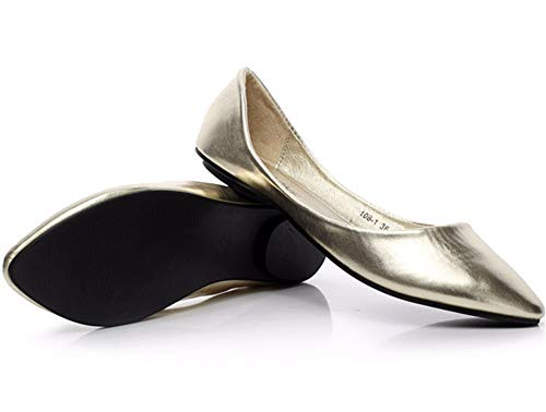 Zapatos Trabajo Planos Simple Primavera otoño Solo de FLYRCX Zapatos Color Moda Zapatos La Oficina de Embarazada Boca cómodo de Baja el de sólido Mujer y Gold de de Zapatos 01qWTHwa