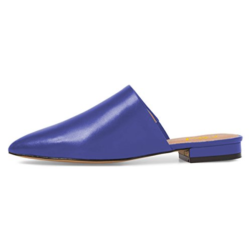 FSJ Women Comfortable Slip on Flats Pointed Toe Mule Sandals Slide Loafers Shoes Size 4-15 US Blue SThnLnSw