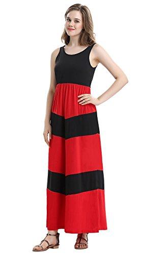 Women`s 1214 Summer Waist Maxi Beach Long Boho Empire red Party Demetory Flowy Dress PwTAdP