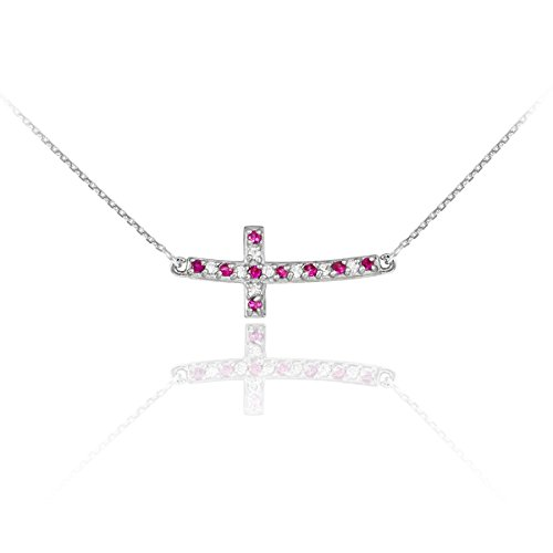 14k White Gold Diamond and Ruby Sideways Curved Cross Necklace (16 - Necklace Curved Diamond Gold White