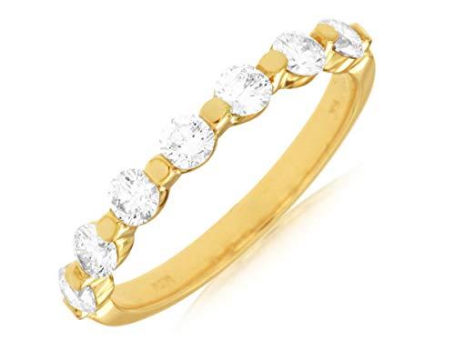 Milano Jewelers .75CT Diamond 14KT Yellow Gold 3D 7 Stone Shared Prong Anniversary Ring ()