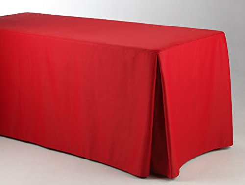 Fitted Tablecloth Trade Show 6 Ft Corner Pleat 4 sides ( 30x72 ) By Runner Linens - 4 Tablecloth Side