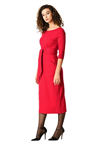 eShakti Women's Asymmetric OBI Belt Cotton Knit Sheath Dress S-6 Regular Haute red