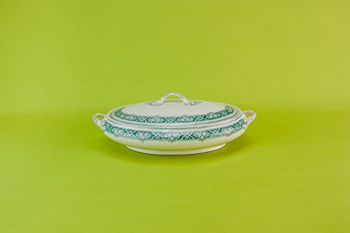 Antique Neo-Classical Alfred Meakin TUREEN Lennox Serving Dinner Pottery Green Oval Medium Kitchen English Circa 1910 LS