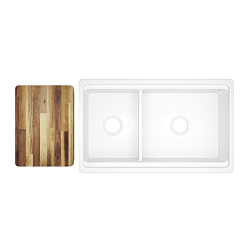 - Elkay SWUF3320WH Fireclay 60/40 Double Bowl Farmhouse Sink with Aqua Divide, White