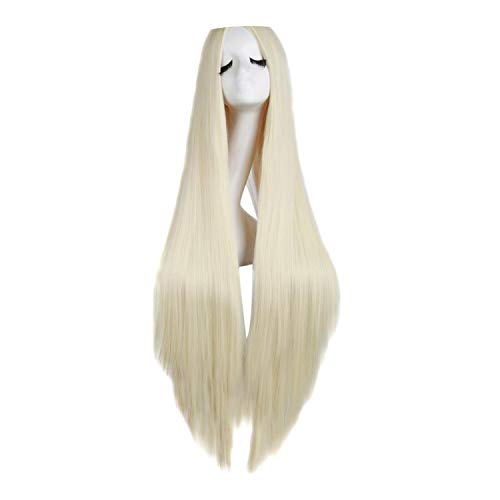 (pursuit-of-self Women Long Straight Hair Cosplay Wig Black White Brown 4,Light Blonde,38inches,United States)