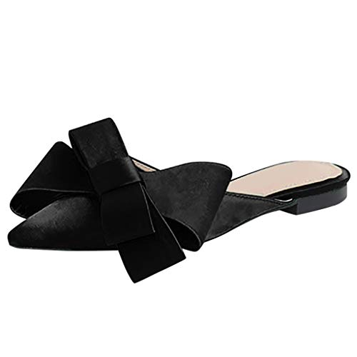 TOOPOOT Summer Shoes for Women, Ladies Pointed Toe Shallow Flat Solid Casual Bow Tie Slipper Shoes Black