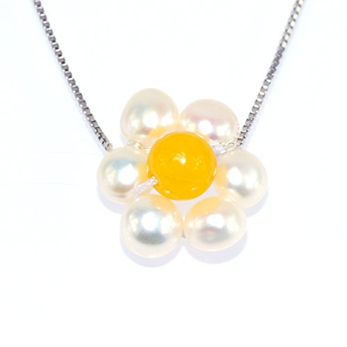 Daisy Flower Floral Natural White Pearl Yellow Agate Sterling Silver Necklace