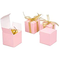 Candy Box small Pink Gift box 2 x 2 x 2 inch,Square paper treat box Party Favor Box for Wedding,Bridal Shower,Birthday,Baby Shower,Anniversary,holiday celebration party supplies decorations,50pcs