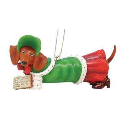 1.5 Inch Caroler Dressed Weiner Doggy Figurine Holiday Ornament
