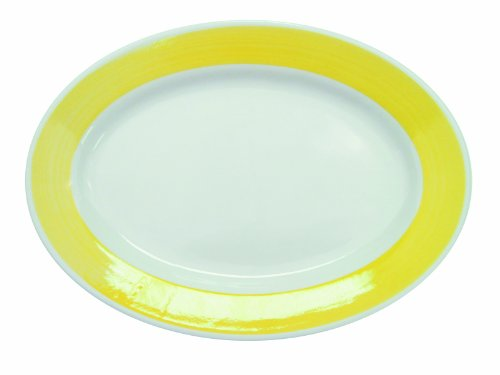 CAC China R-34-YELLOW Rainbow Rolled Edge 9-3/8-Inch by 6-1/4-Inch Yellow Stoneware Oval Platter, Box of 24 ()